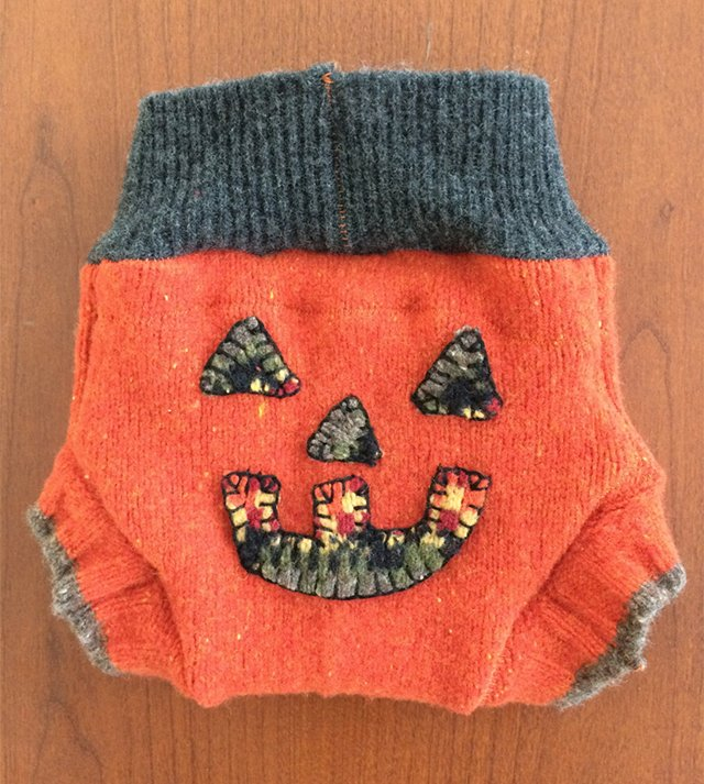 Halloween jack o'lantern newborn wool soaker from Roslyn Rumpers