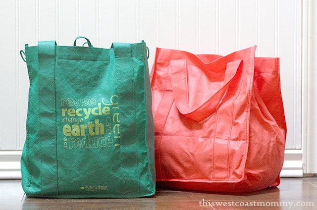 Reduce your use of plastic disposable bags with reusable cloth bags.