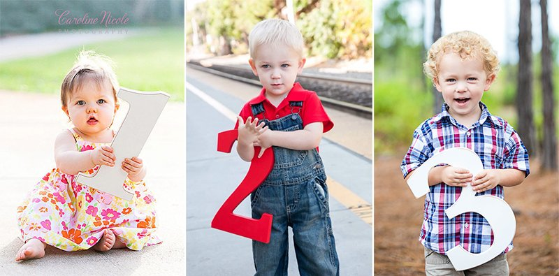 Mark your little one's important milestones with these wooden number photo props.