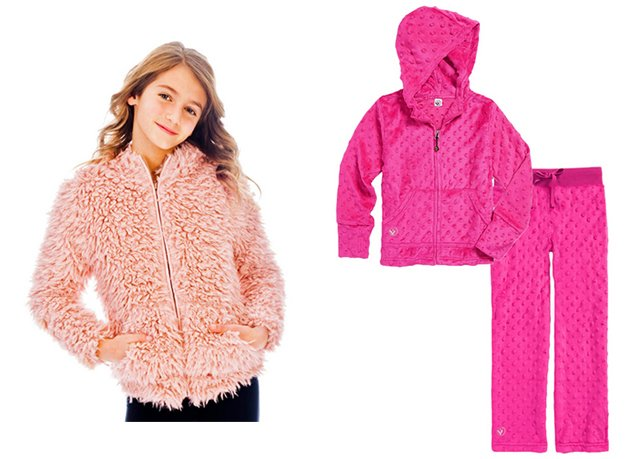 Faux fur hoodie & Bubble hoodie and pant set