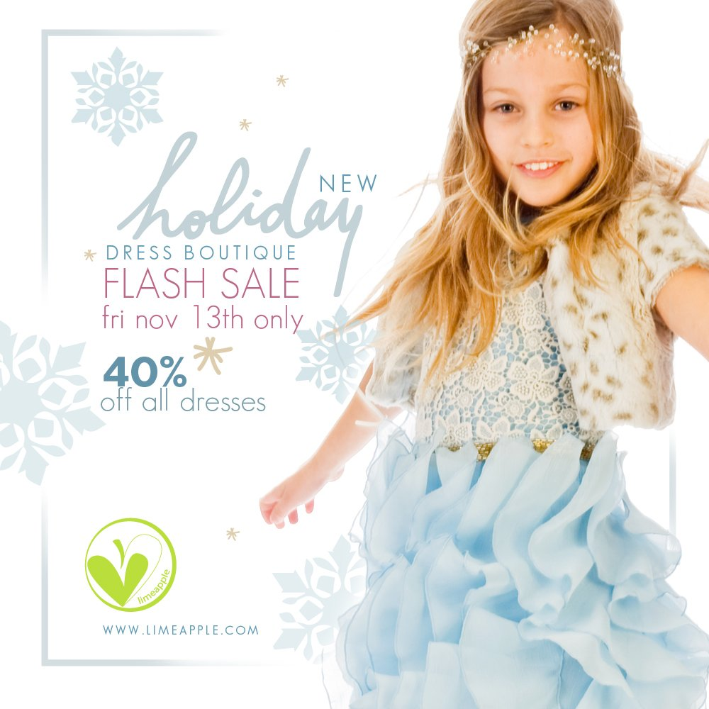 Limeapple Holiday Dress Sale - 40% off all dresses on Friday, November 13 only!