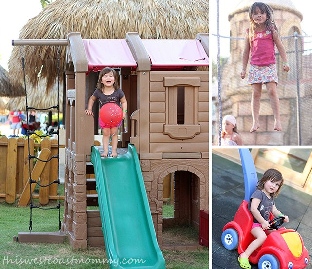 The Pirate Castle Clubhouse boasts a generously-sized secure outdoor area with a small soccer area, climbing wall, sand pit, trampoline, mini zip line, and play structure.