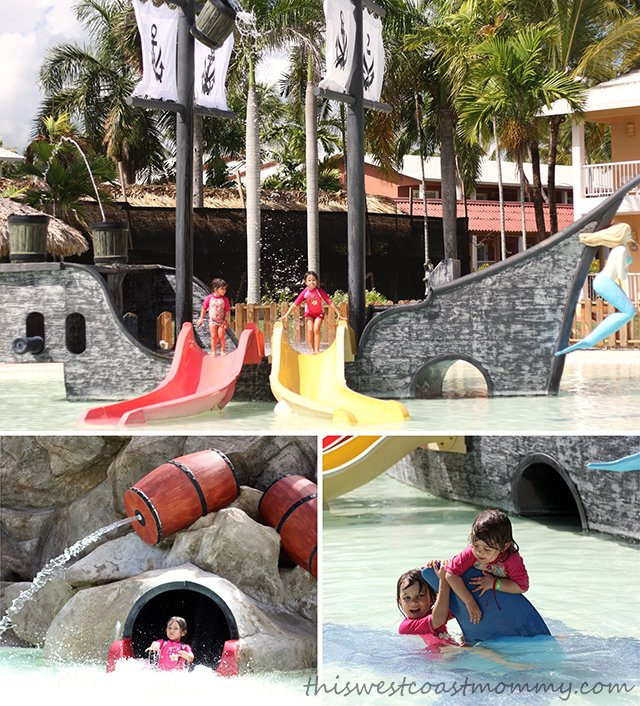 The pirate themed kids pool, splash pad, and water slides were fun for all!