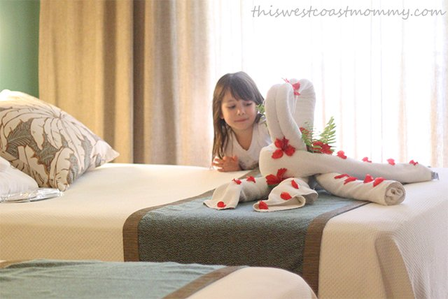 We were welcomed with towel swans and fresh flowers