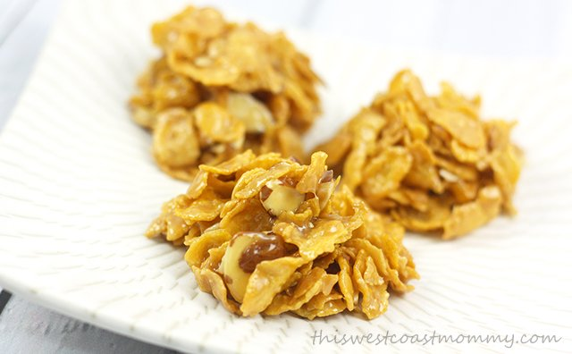These No Bake Corn Flake Toffee Drop Cookies are a decadent treat made from corn flakes, sliced almonds, Mackintosh's Toffee, coconut milk, and vanilla.
