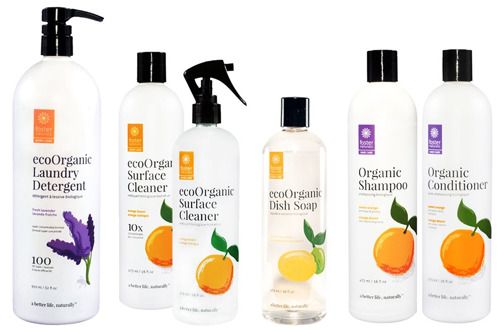 Foster Naturals non-toxic and eco-friendly products are biodegradable, vegan, hypoallergenic, and waterway and septic system safe, as well as Fair Trade and sustainably made right here in British Columbia, Canada!