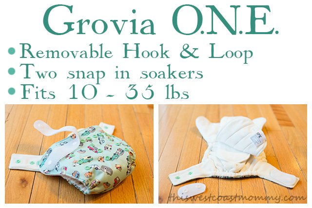 Grovia O.N.E. diaper fits 10-35 lbs. and comes with BOTH hook & loop and snap closure in one diaper.