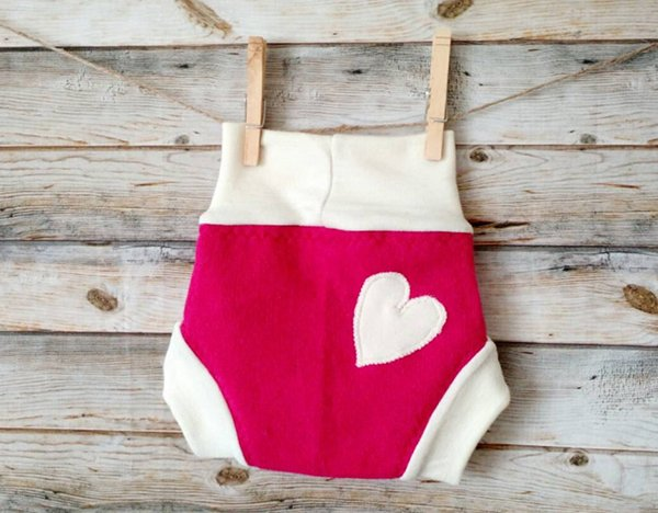 Reversible heart wool soaker from Flora Gayle