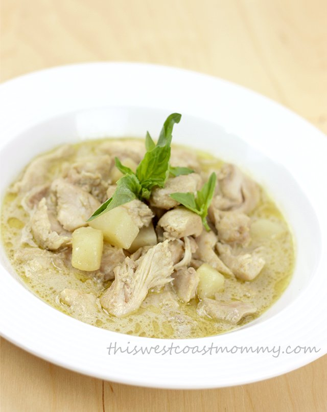 Make delicious Thai green curry chicken in your slow cooker! Gluten-free, dairy-free, paleo, and Whole30.