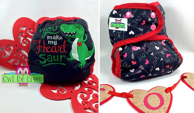 Valentine's Day diaper covers from Owl Be Green