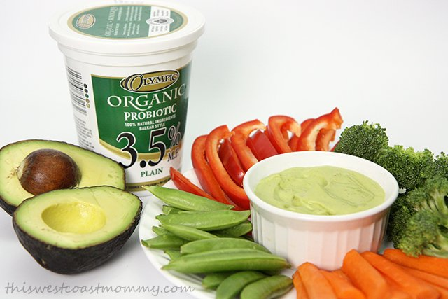 Yogurt is an easy, high protein base for tasty sauces and dips like this Creamy Avocado Yogurt Dip. Olympic Organic Probiotic Yogurt makes it light, fresh, and delicious!