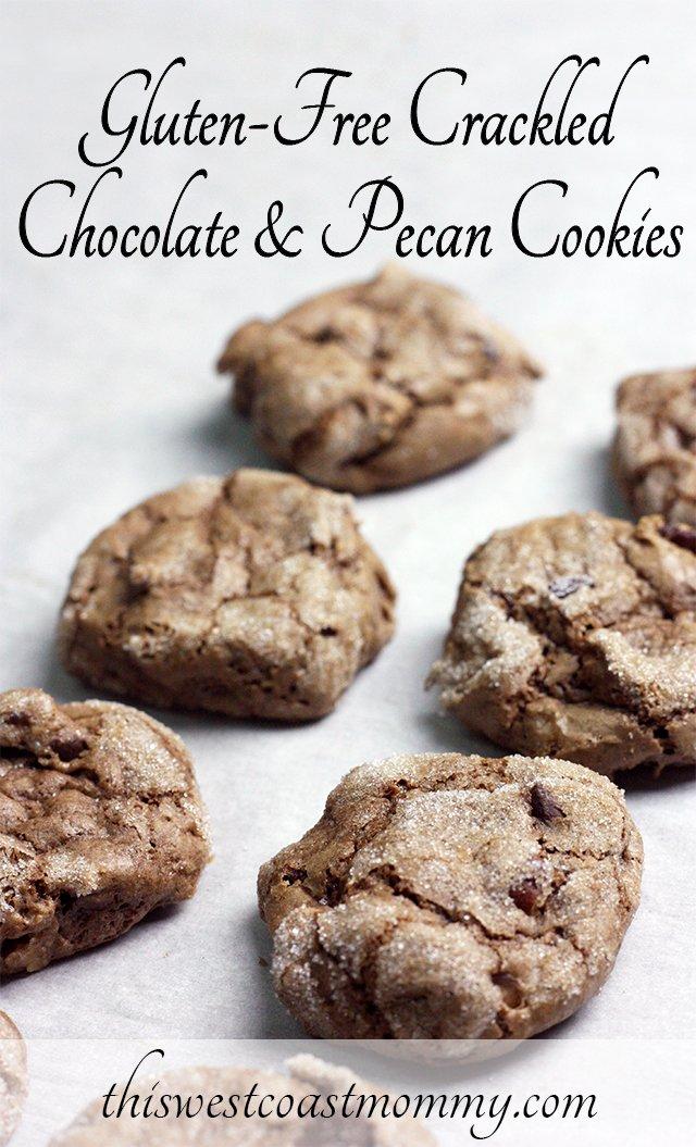 Gluten-free crackled chocolate & pecan cookies