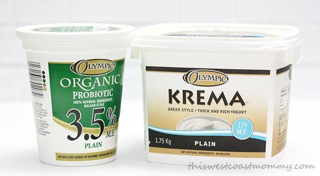 Olympic organic yogurt and Krema Greek yogurt