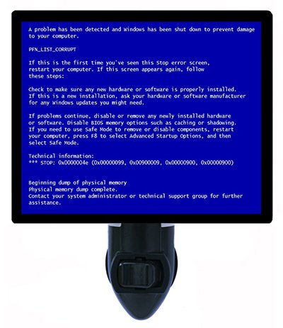 Blue screen of death night light