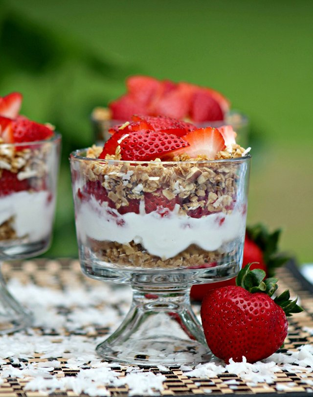 Strawberry Parfait with Homemade Tropical Granola