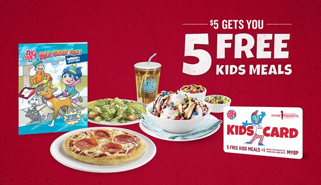 Until October 2, for a minimum donation of $5 to the Boston Pizza Foundation, you can get a Kids Card good for 5 free Kids Meals at Boston Pizza.