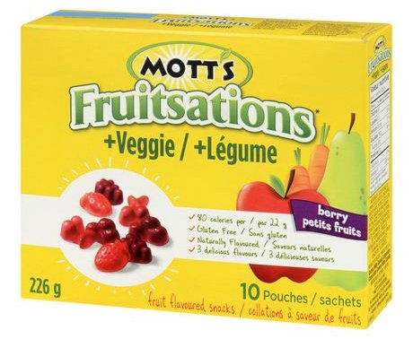 Mott's Fruitsations + Veggie fruit flavoured snacks