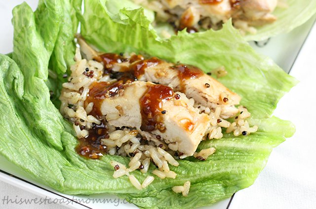 Balsamic chicken, quinoa, and brown rice lettuce wraps are a quick, healthy, and delicious dinner option!