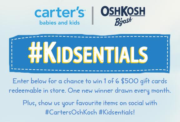 Enter the Carter's OshKosh B'Gosh #Kidsentials contest!