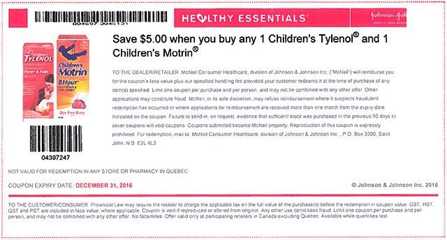 $5 off purchase of Children's Tylenol and Children's Motrin