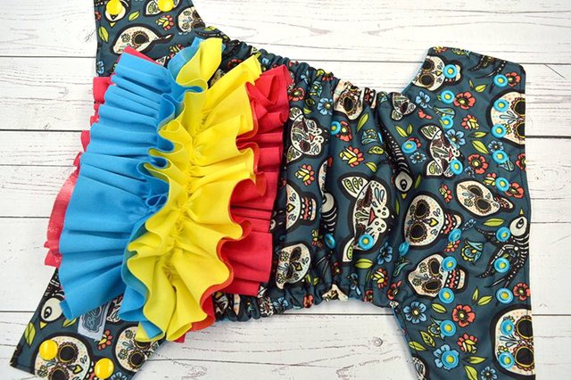Bella Luna Gatos Calaveras pocket diaper with detachable ruffles