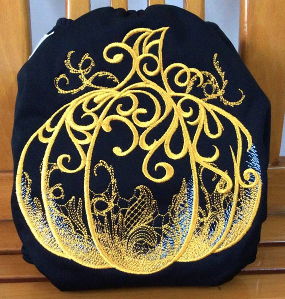 Mama Care embroidered pumpkin AIO diaper