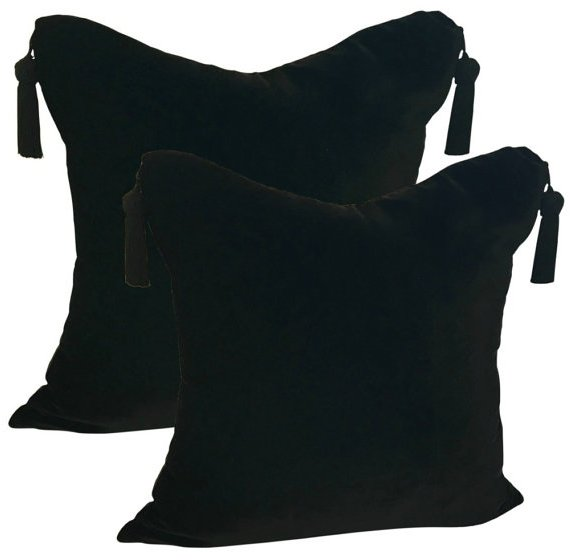 black velvet and silk pillow covers