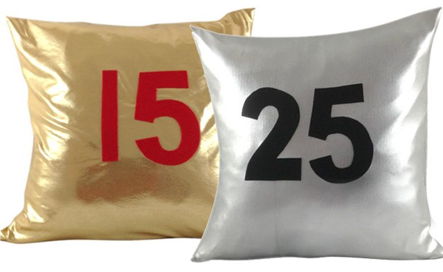 gold and silver metallic pillow covers