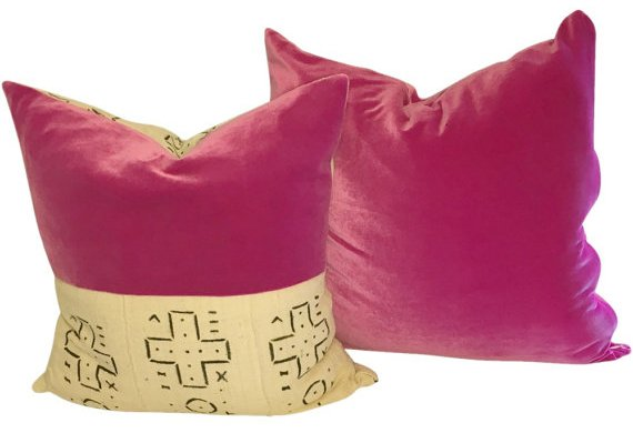 pink mud cloth pillows
