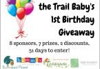 Huckleberry the Trail Baby's 1st Birthday Giveaway: 2 Baby Carriers, Cloth Diapers, and More!