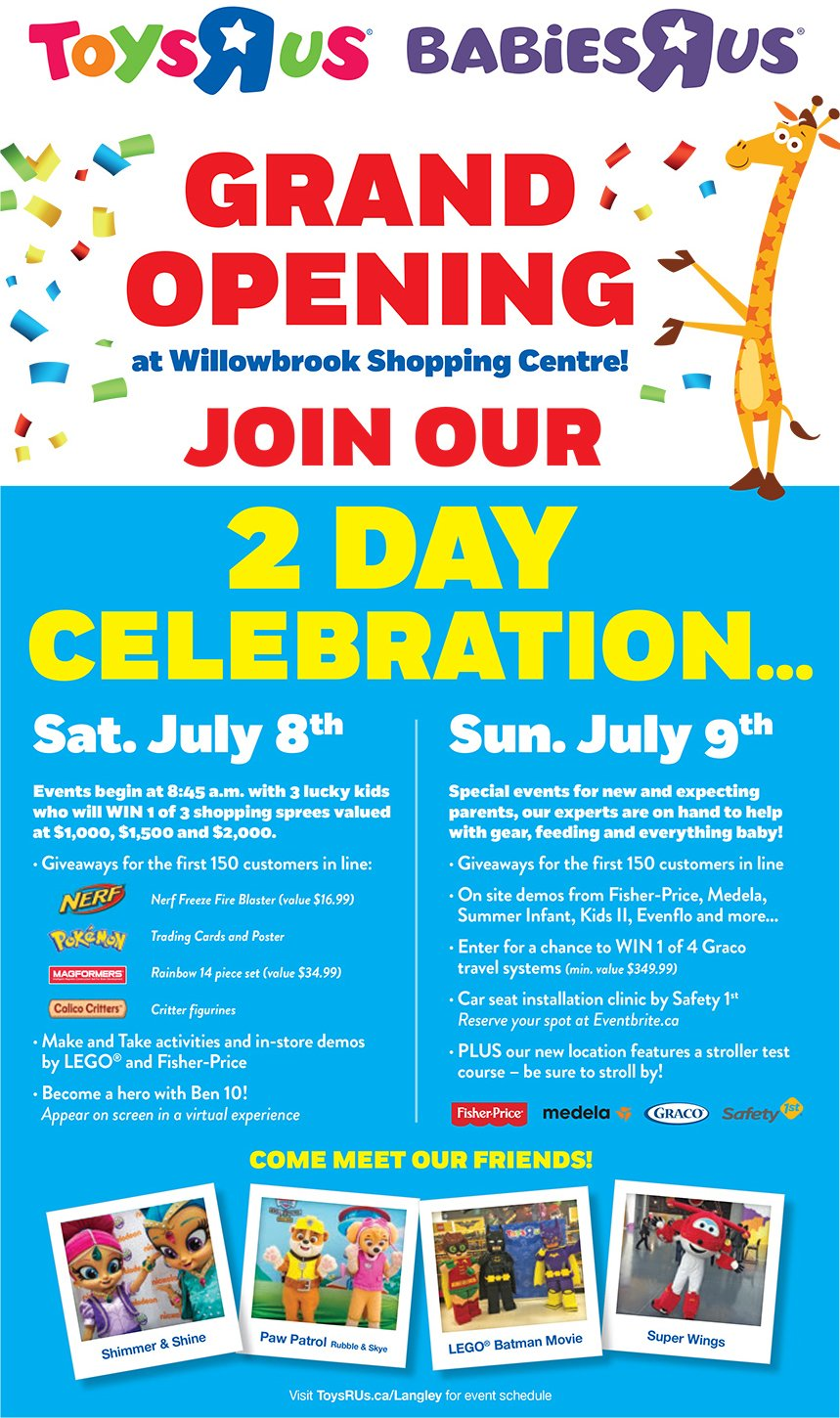 Toys R Us Langley Grand Opening July 8 And 9 This West