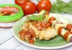 Grilled Gouda Stuffed Chicken with Bruschetta