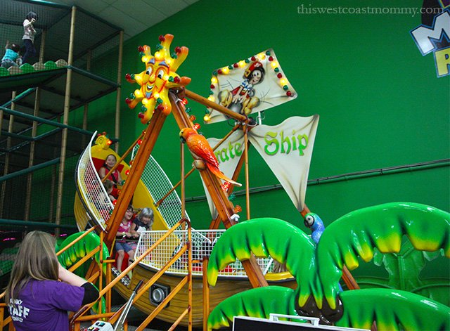 Funky Monkey Fun Park in Surrey, BC, boasts all the indoor birthday party fun including a pirate ship ride, monkey hopper ride, laser tag, and bumper cars!