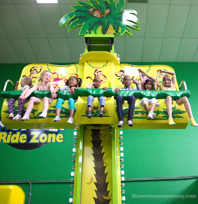 Funky Monkey Fun Park in Surrey, BC boasts all the indoor birthday party fun including a pirate ship ride, monkey hopper ride, laser tag, and bumper cars!