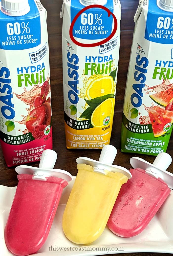 We don't always drink juice, but when we do, Oasis HydraFruit juices have 60% less sugar than regular fruit juice blends! They don't contain added sugar or artificial sweeteners, and they make great ice pops too!